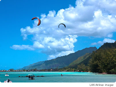 Main spot of Kitsurf on Moorea island