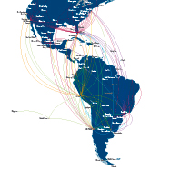 Mapa de vuelos por toda Am&eacute;rica 