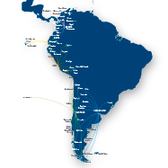 Mapa de vuelos dentro de Argentina, Chile, Ecuador y Per&uacute;