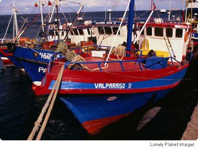 Fishing boats in Chilean colors docked in the Patagonian port of Punta Arenas